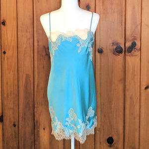 Victoria's Secret Medium Blue Chemise Slip Lace